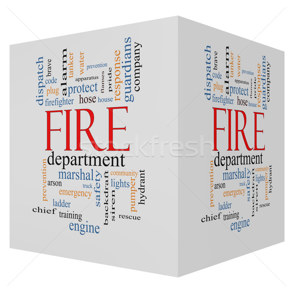 Fire Department 3D cube Word Cloud Concept Stock photo © mybaitshop