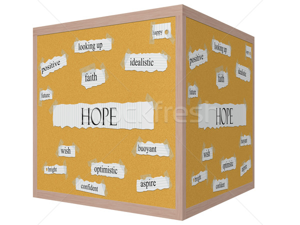Hope 3D cube Corkboard Word Concept Stock photo © mybaitshop