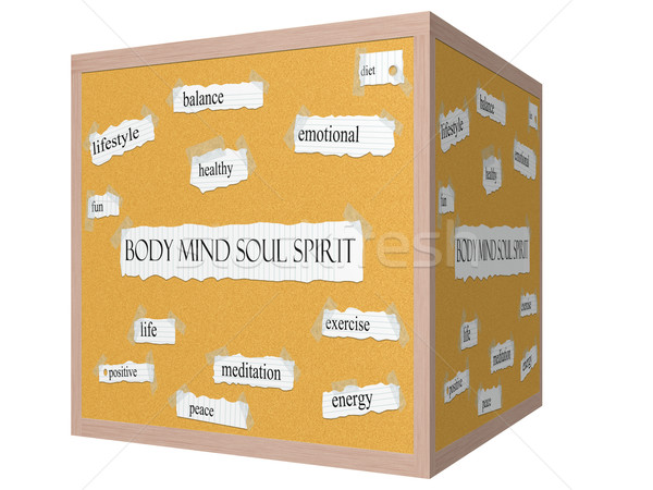 Body Mind Soul Spirit 3D cube Corkboard Word Concept Stock photo © mybaitshop
