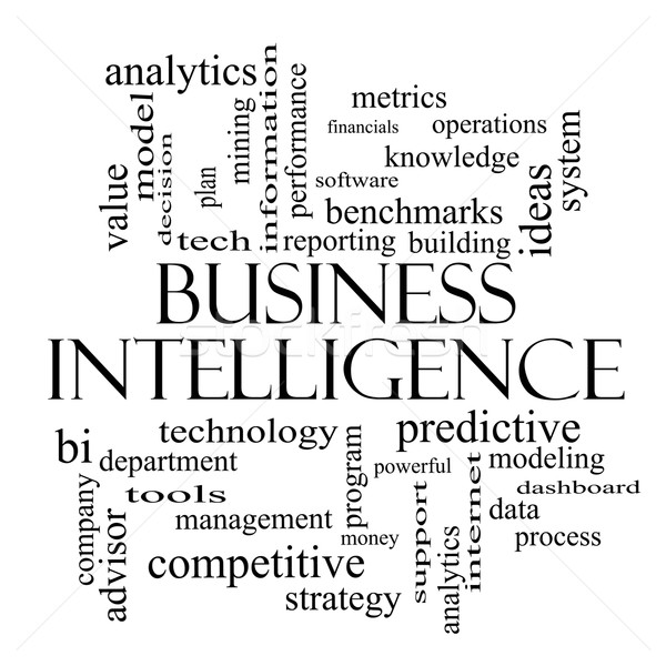 Business Intelligence Word Cloud Concept in black and white Stock photo © mybaitshop