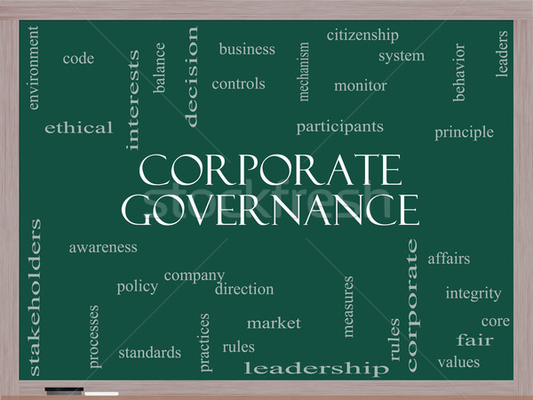 Corporate Governance Word Cloud Concept on a Blackboard Stock photo © mybaitshop