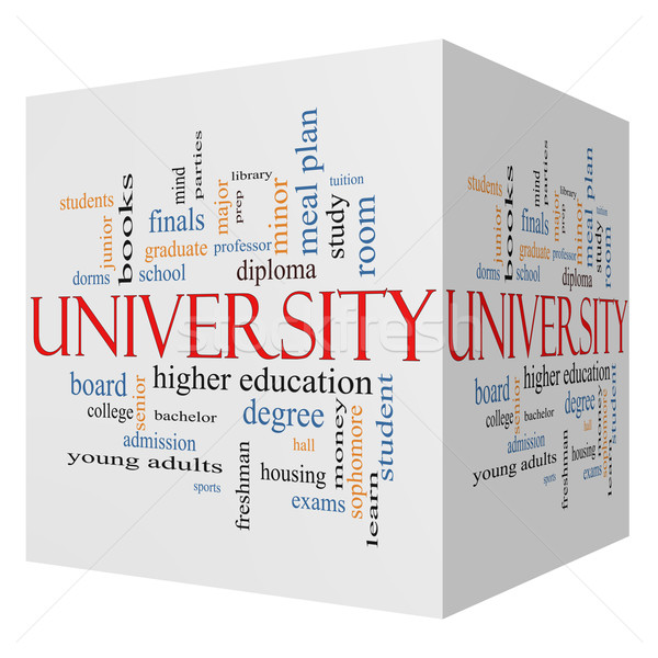 University 3D cube Word Cloud Concept Stock photo © mybaitshop