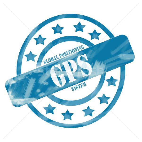 Blue Weathered GPS Stamp Circles and Stars Stock photo © mybaitshop