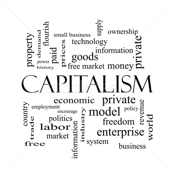 Capitalism Word Cloud Concept in black and white Stock photo © mybaitshop