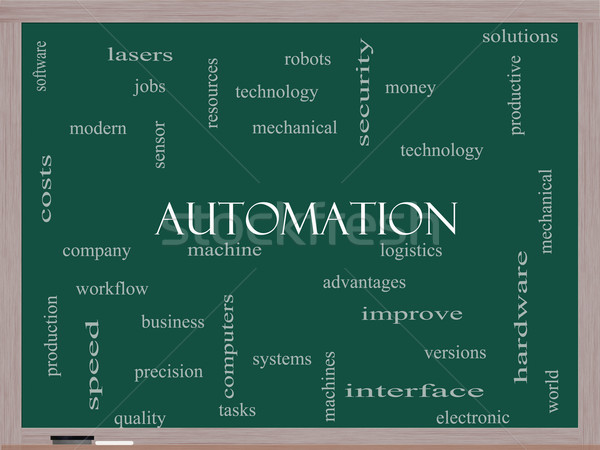 Automation Word Cloud Concept on a Blackboard Stock photo © mybaitshop
