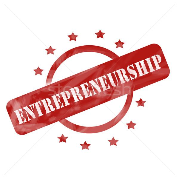 Rood verweerde ondernemerschap stempel cirkel sterren Stockfoto © mybaitshop