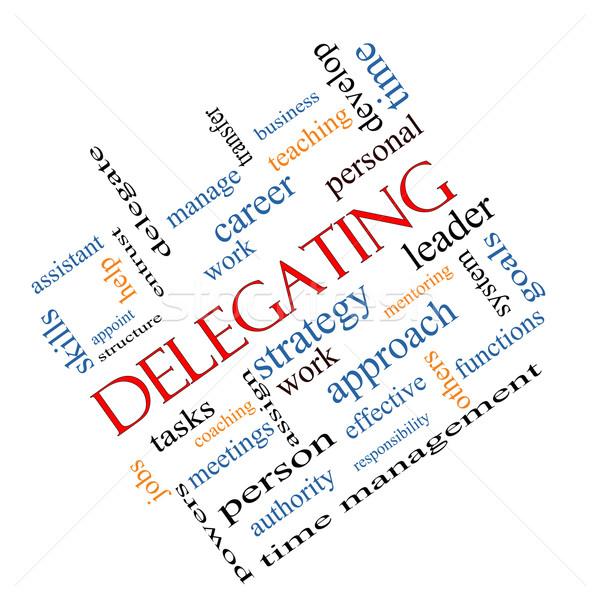 Delegating Word Cloud Concept Angled Stock photo © mybaitshop