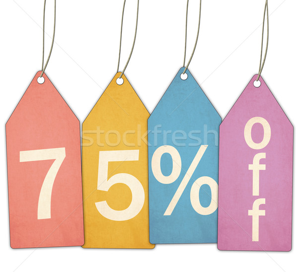 Seventy Five Percent Off Sale Colorful Tags Stock photo © mybaitshop