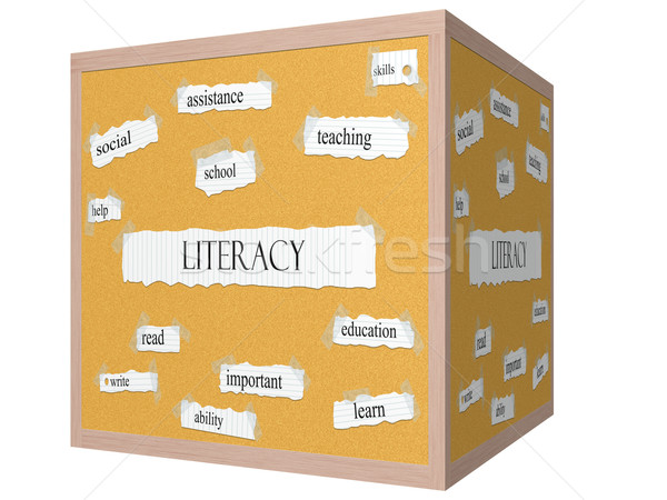 Literacy 3D cube Corkboard Word Concept Stock photo © mybaitshop