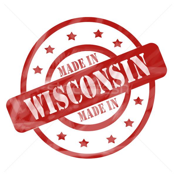Rouge patiné Wisconsin tampon étoiles Photo stock © mybaitshop