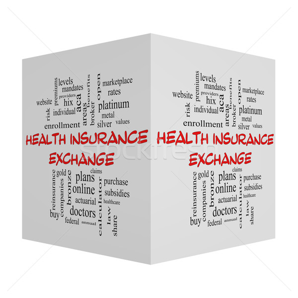 Health Insurance Exchange Cube Word Cloud Concept in red caps Stock photo © mybaitshop