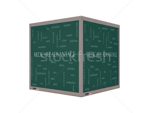 Medicare Advantage 3D Word Cloud Concept on a Blackboard Stock photo © mybaitshop