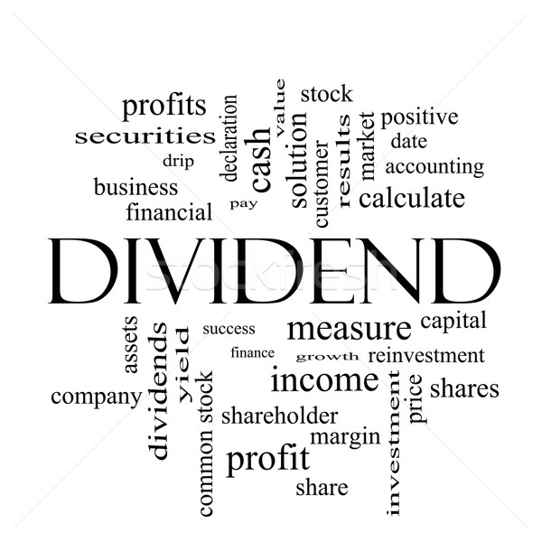 Dividend Word Cloud Concept in black and white Stock photo © mybaitshop
