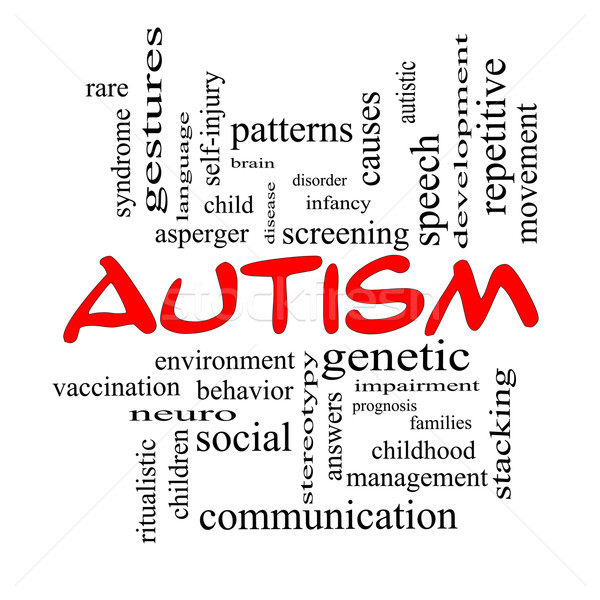 Autism Word Cloud Concept in red caps Stock photo © mybaitshop