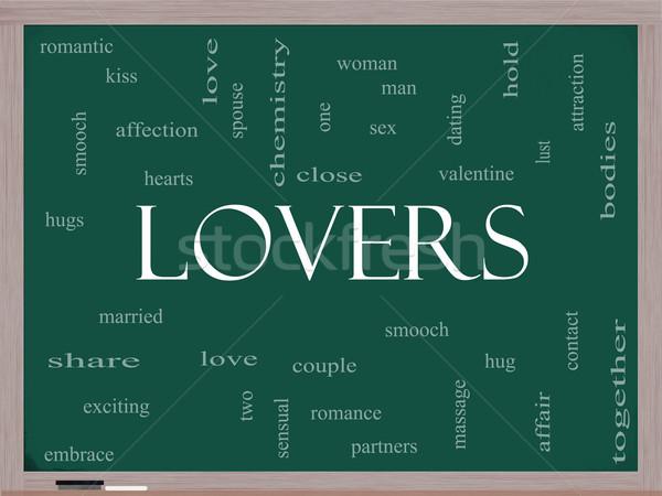 Lovers Word Cloud Concept on a Blackboard Stock photo © mybaitshop