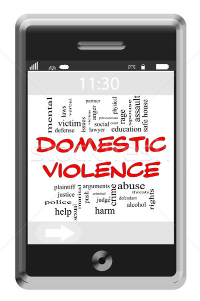 Domestic Violence Word Cloud Concept on Touchscreen Phone Stock photo © mybaitshop