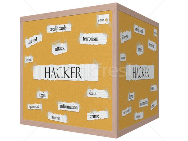 Hacker on a 3D cube Corkboard Word Concept Stock photo © mybaitshop