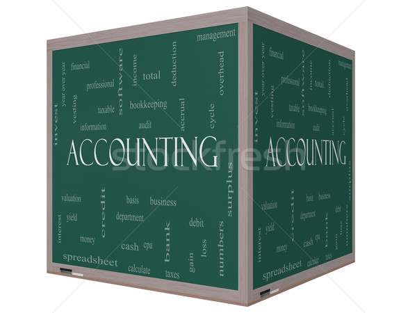 Accounting 3D Cube Word Cloud Concept on a Blackboard Stock photo © mybaitshop