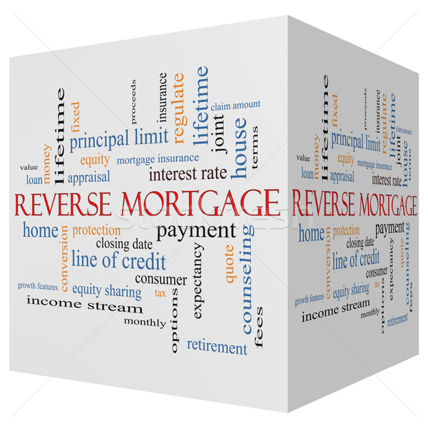 Reverse Mortgage 3D cube Word Cloud Concept Stock photo © mybaitshop