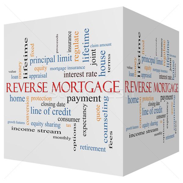 Hypotheek 3D kubus woordwolk groot betaling Stockfoto © mybaitshop
