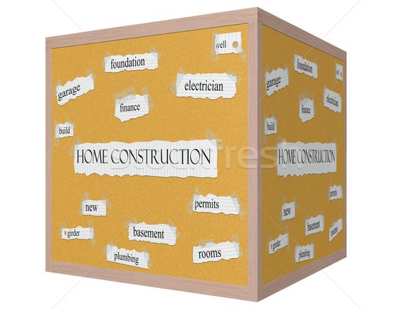 Home Construction 3D cube Corkboard Word Concept Stock photo © mybaitshop