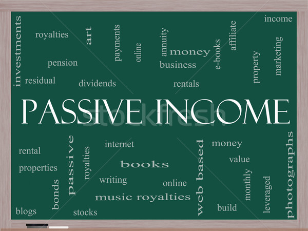 Passive Income Word Cloud Concept on a Blackboard Stock photo © mybaitshop