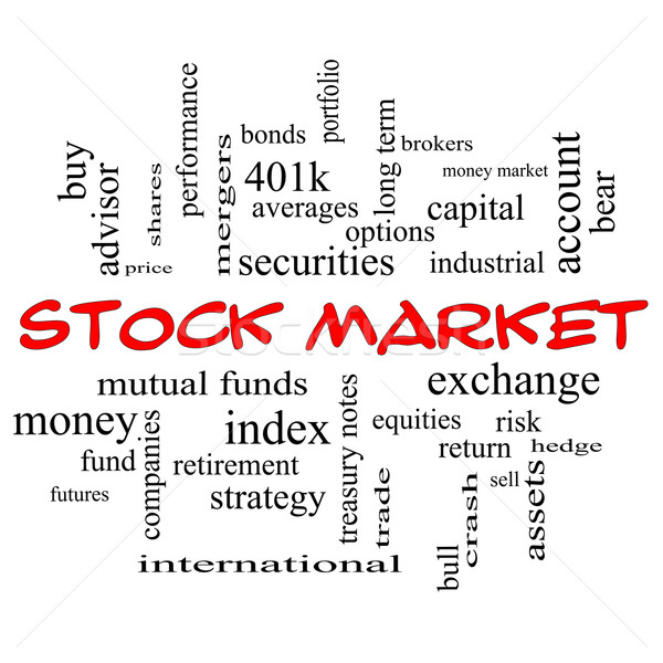 Stock Market Word Cloud Concept in red caps Stock photo © mybaitshop