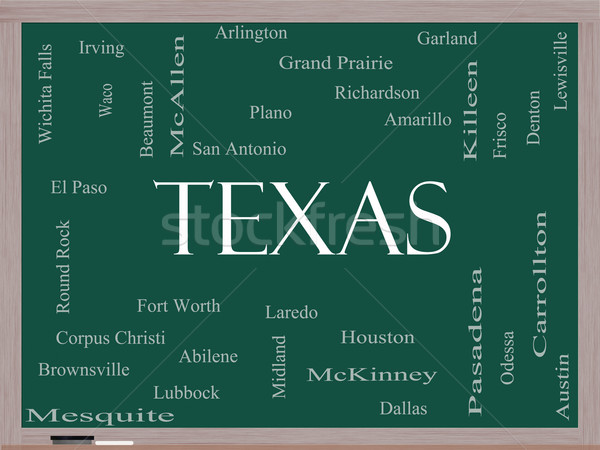 Texas State Word Cloud Concept on a Blackboard Stock photo © mybaitshop