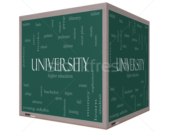 University Word Cloud Concept on a 3D cube Blackboard Stock photo © mybaitshop
