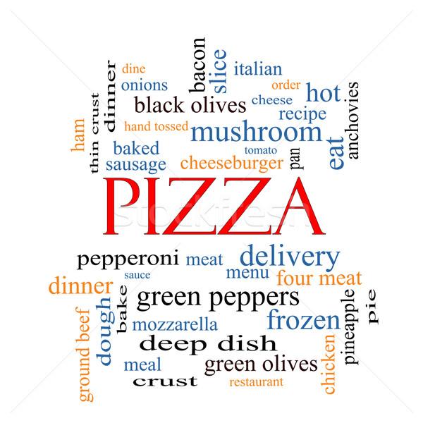 Foto stock: Pizza · nuvem · da · palavra · calabresa · menu · entrega
