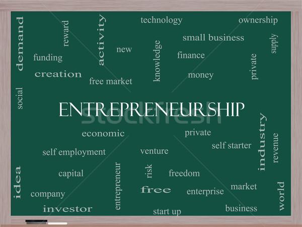 Girişimcilik kelime bulutu tahta muhteşem ekonomik Stok fotoğraf © mybaitshop