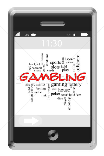 Gambling Word Cloud Concept on Touchscreen Phone Stock photo © mybaitshop