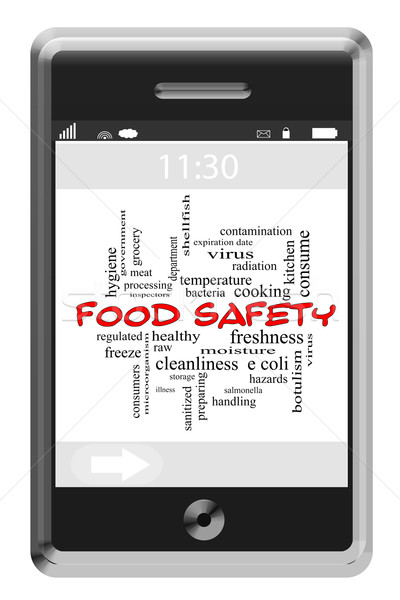 Food Safety Word Cloud Concept on Touchscreen Phone Stock photo © mybaitshop
