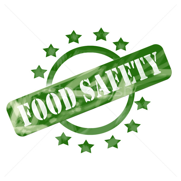 Green Weathered Food Safety Stamp Circle and Stars design Stock photo © mybaitshop