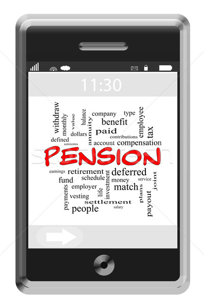 Pension Word Cloud Concept on Touchscreen Phone Stock photo © mybaitshop