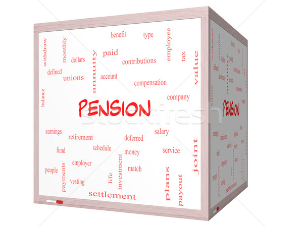 Pension Word Cloud Concept on a 3D cube Whiteboard Stock photo © mybaitshop