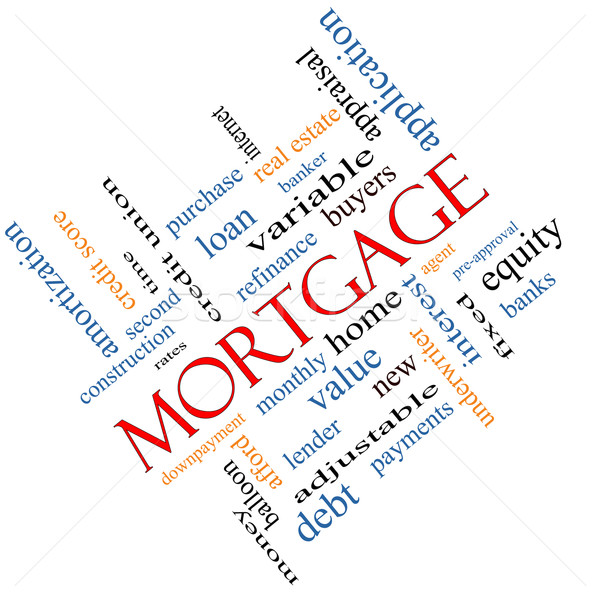 Mortgage Word Cloud Concept Angled Stock photo © mybaitshop
