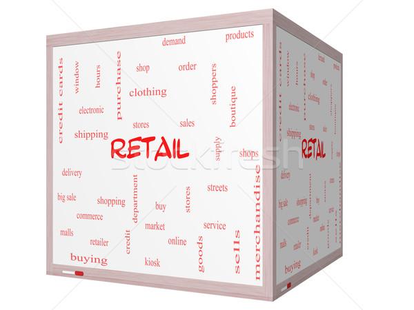 Kiskereskedelem szófelhő 3D kocka tábla nagyszerű Stock fotó © mybaitshop