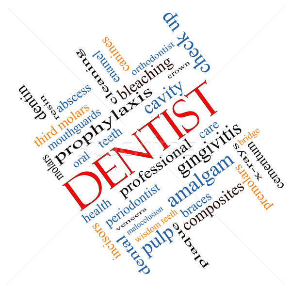 Dentista word cloud cavità care denti Foto d'archivio © mybaitshop