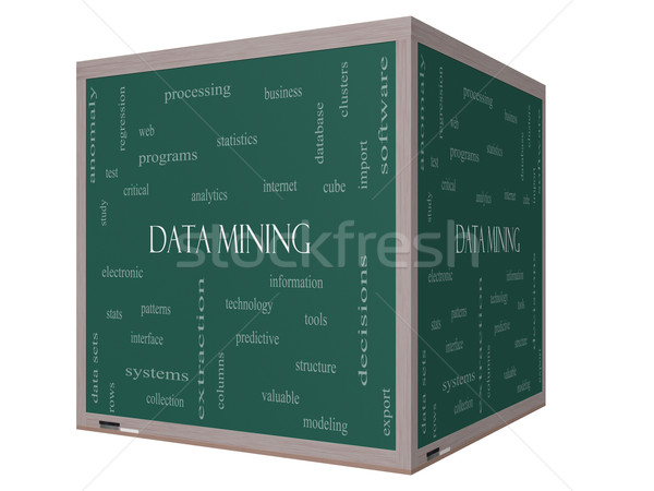 Data Mining Word Cloud Concept on a 3D cube Blackboard Stock photo © mybaitshop