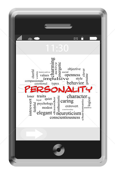 Personality Word Cloud Concept on a Touchscreen Phone Stock photo © mybaitshop