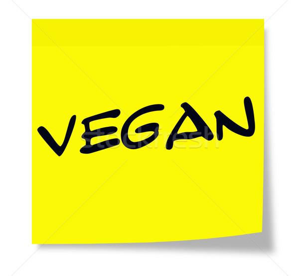 Vegan nota pegajosa escrito papel amarelo Foto stock © mybaitshop