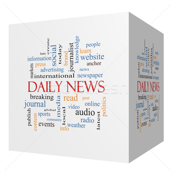 Daily News 3D cube Word Cloud Concept Stock photo © mybaitshop