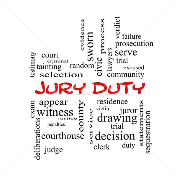 Jury Duty Word Cloud Concept in red caps Stock photo © mybaitshop
