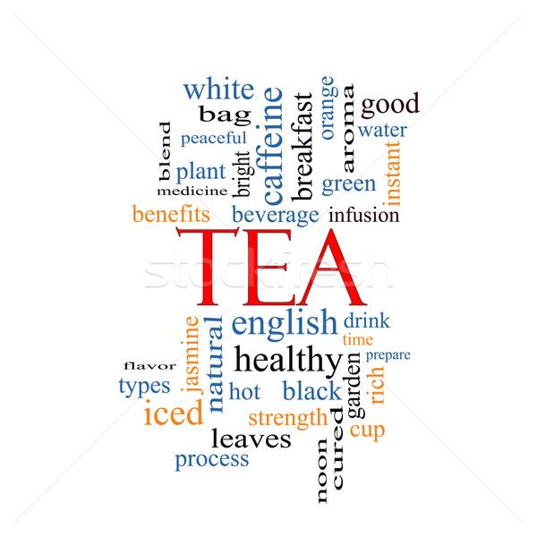 Chá nuvem da palavra quente beber Foto stock © mybaitshop