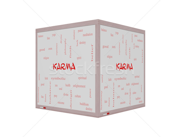 Karma Word Cloud Concept on a 3D Whiteboard Stock photo © mybaitshop