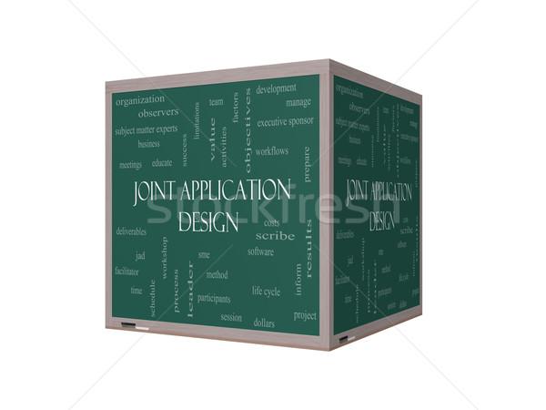 Gezamenlijk toepassing 3d illustration woordwolk Blackboard groot Stockfoto © mybaitshop