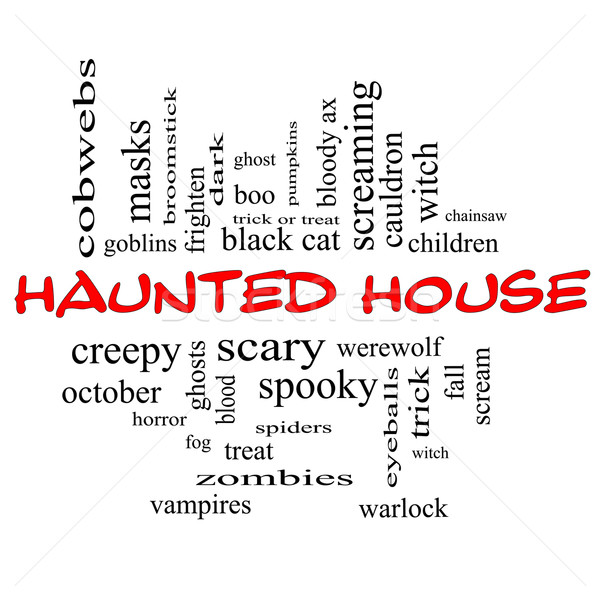 Haunted House Word Cloud Concept in red & black Stock photo © mybaitshop
