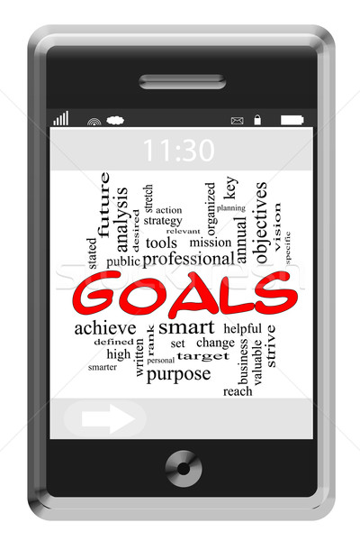 Goals Word Cloud Concept on Touchscreen Phone Stock photo © mybaitshop