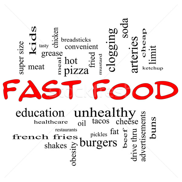 Fast Food Word Cloud Concept in red Capital letters Stock photo © mybaitshop